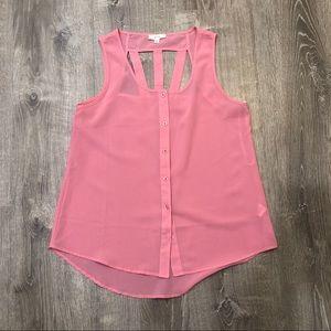 Pink shear sleeveless top